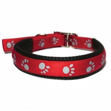 Rosewood Collar Reflectante Huellas Rojo 35cm x 15mm