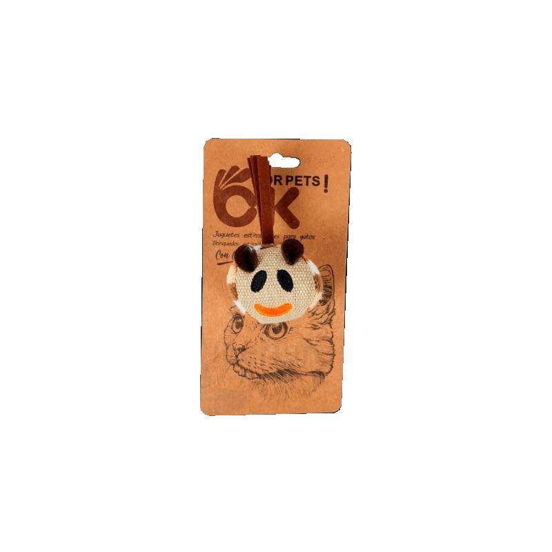 Blister Bola de tela con cara con Catnip para gatos