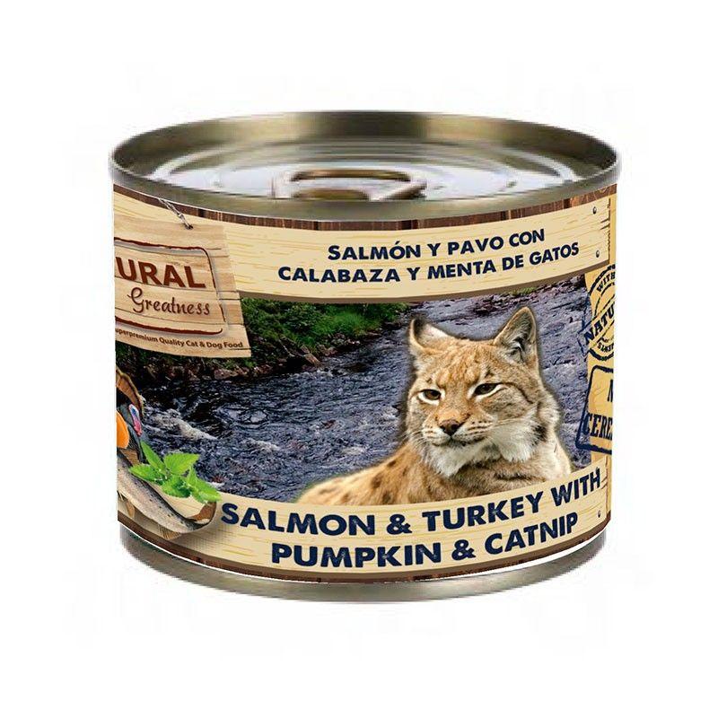 Natural Greatness Gato Lata Salmon y Pavo con Calabaza y Menta