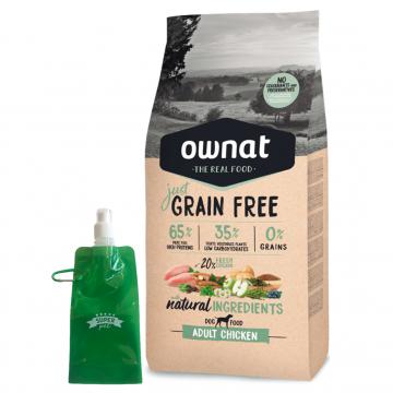 Ownat Just Grain Free Adult Chicken and Turkey + botella plegable gratis