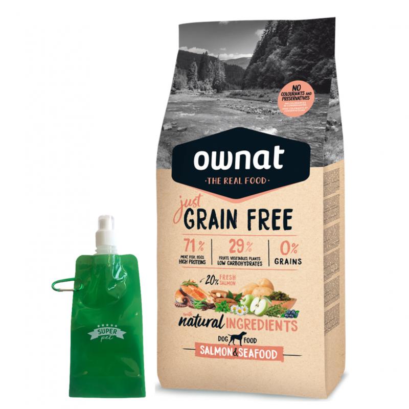 Ownat Just Grain Free Salmon & Sea Food + botella plegable gratis