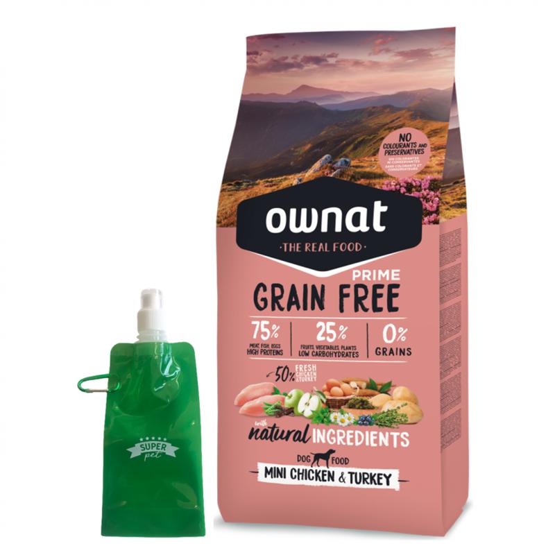 Ownat Prime Grain Free Mini Adult Chicken & Turkey + botella plegable gratis