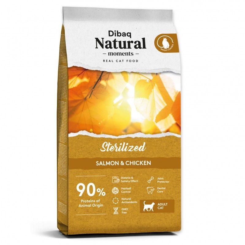 Dibaq Natural Moments Gatos Esterilizados Salmón y Pollo 2 kg