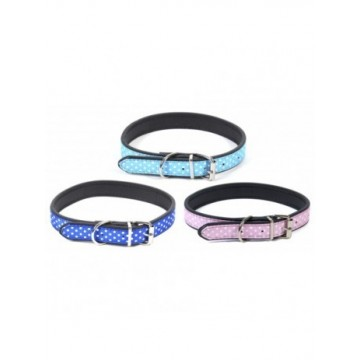 N Collar nylon lunares blancos Azul/Celeste/Rosa M