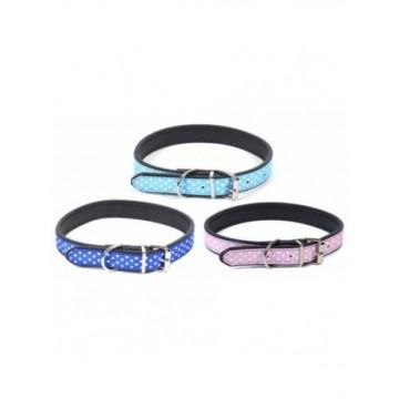N Collar nylon lunares blancos Azul/Celeste/Rosa S