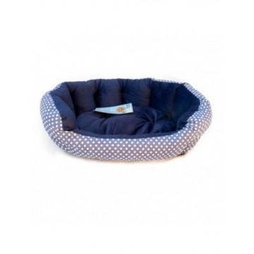 Cama Redonda con Topos Azul S 45x35x15