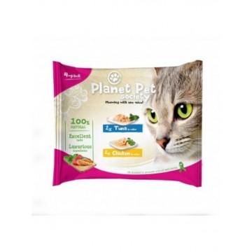 Planet Pet Gato Pouch Pack Atun y Pollo 4x50gr