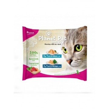 Planet Pet Gat Pouch Pack Atun,Salmon,Calam 4x50g