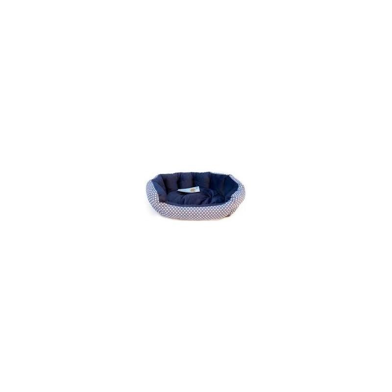 Cama Redonda con Topos Azul L 71x58x22 cm