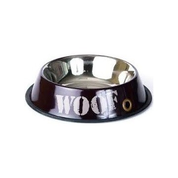 Comedero Woof inoxidable marrón Talla L