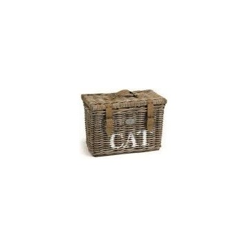 Cesta mimbre almacenamiento gatos 46x26cm