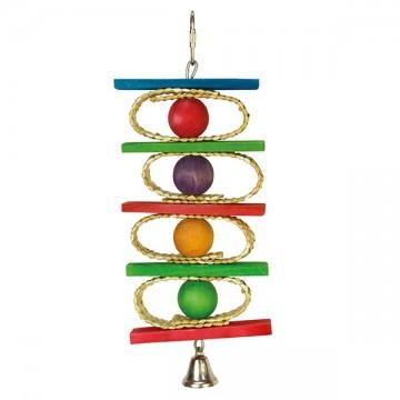Aros, bolas de colores y campana